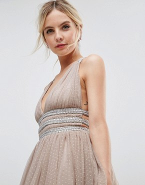 photo Tulle Strappy Embellished Mini Skater Dress by ASOS PETITE, color Mink - Image 3