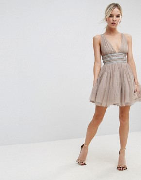 photo Tulle Strappy Embellished Mini Skater Dress by ASOS PETITE, color Mink - Image 4
