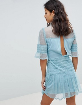 photo Mesh Dobby Skater Dress by ASOS PETITE, color Blue - Image 2