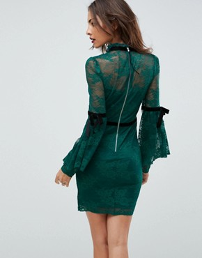 photo High Neck Lace Bodycon Mini Dress with Velvet Tape by ASOS, color Green - Image 2