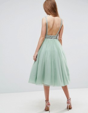 photo Tulle Strappy Embellished Midi Skater Dress by ASOS, color Mint - Image 2