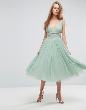 photo Tulle Strappy Embellished Midi Skater Dress by ASOS, color Mint - Image 1