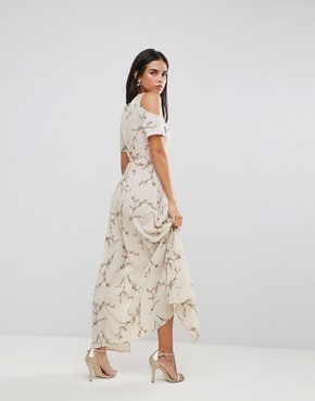 photo Cold Shoulder Floral Maxi Dress with Tie Waist by AX Paris, color Cream - Image 2
