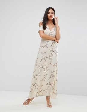 photo Cold Shoulder Floral Maxi Dress with Tie Waist by AX Paris, color Cream - Image 1