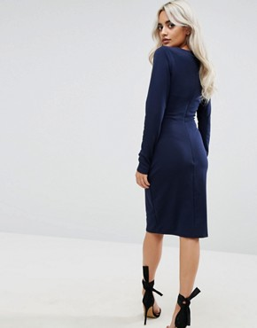 photo Long Sleeve Pencil Dress with Ruched Detail by City Goddess Petite, color Navy - Image 2