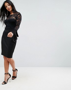 photo Long Sleeve Lace Mini Dress with Bow Back by City Goddess Petite, color Black - Image 2