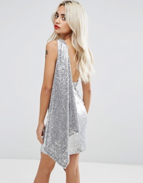 photo One Shoulder Sequin Mini Dress by City Goddess Petite, color Silver - Image 2