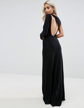photo Spliced Maxi Dress with Thigh Split by City Goddess Petite, color Black - Image 2