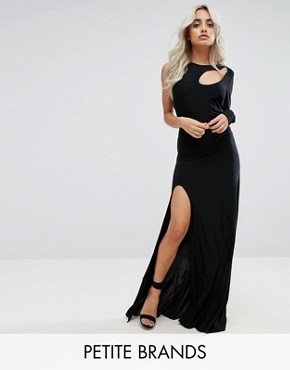 photo Spliced Maxi Dress with Thigh Split by City Goddess Petite, color Black - Image 1