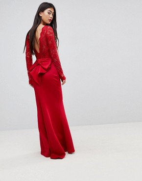 photo Bow Back Maxi Dress with Lace Body by City Goddess Petite, color Red - Image 2