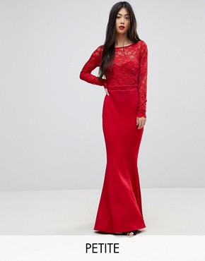 photo Bow Back Maxi Dress with Lace Body by City Goddess Petite, color Red - Image 1