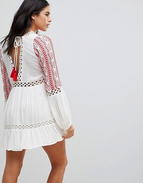 photo Embroidered Floaty Long Sleeved Dress by Hazel, color Off White - Image 2