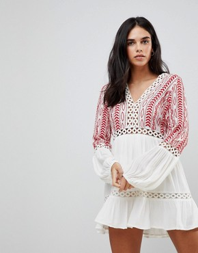 photo Embroidered Floaty Long Sleeved Dress by Hazel, color Off White - Image 1