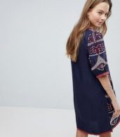 photo Embroidered Shift Dress by Hazel, color Navy - Image 2