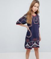 photo Embroidered Shift Dress by Hazel, color Navy - Image 1