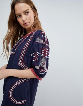 photo Embroidered Shift Dress by Hazel, color Navy - Image 3