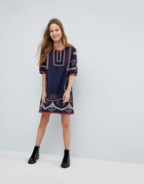photo Embroidered Shift Dress by Hazel, color Navy - Image 4
