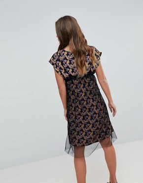 photo Floral Print Midi Dress with Mesh Overlay by Hazel, color Black - Image 2