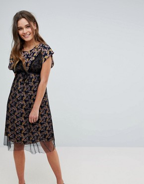 photo Floral Print Midi Dress with Mesh Overlay by Hazel, color Black - Image 1