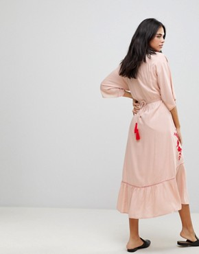 photo Embroidered Front Maxi Dress by Hazel, color Blush - Image 2