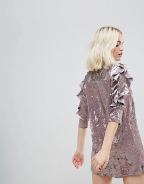 photo Crushed Velvet Rouched Sleeve Dress with Lace Yolk by Hazel, color Lavender - Image 2