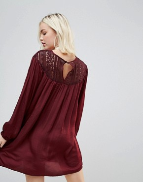 photo Long Sleeved Lace Yolk Shift Dress by Hazel, color Wine - Image 2