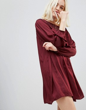 photo Long Sleeved Lace Yolk Shift Dress by Hazel, color Wine - Image 1