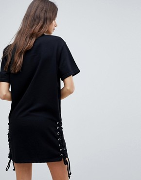 photo Lace Up Side Jersey Shift Dress by Chorus Tall, color Black - Image 2