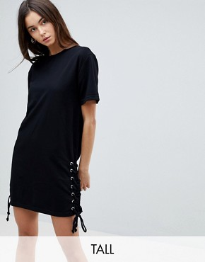 photo Lace Up Side Jersey Shift Dress by Chorus Tall, color Black - Image 1