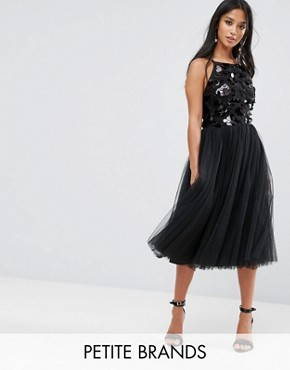 photo Tulle Dress with Sequin Upper by Little Mistress Petite, color Black - Image 1