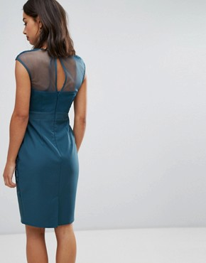 photo Bodycon Dress with Embroidered and Mesh Yoke by Little Mistress Petite, color Green - Image 2