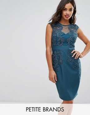 photo Bodycon Dress with Embroidered and Mesh Yoke by Little Mistress Petite, color Green - Image 1
