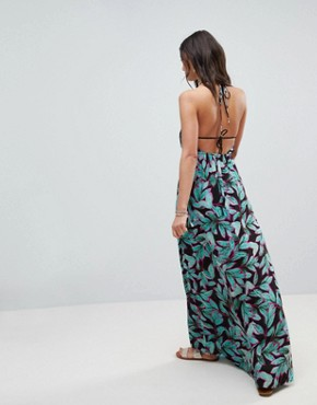photo Tropical Pop Print Bunny Tie Woven Maxi Dress by ASOS TALL, color Tropical Pop - Image 2