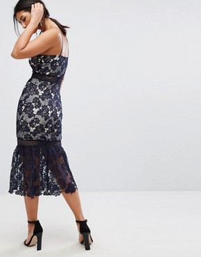 photo Lace Fishtail Hem Midi Dress by Missguided, color Navy - Image 2