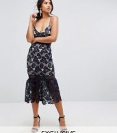 photo Lace Fishtail Hem Midi Dress by Missguided, color Navy - Image 1