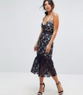 photo Lace Fishtail Hem Midi Dress by Missguided, color Navy - Image 4