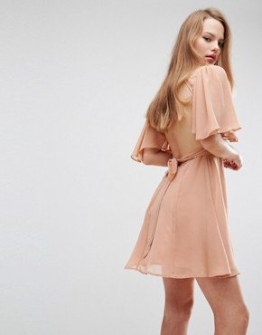 photo High Neck Flutter Sleeve Open Back Mini Dress by ASOS, color Nude - Image 2