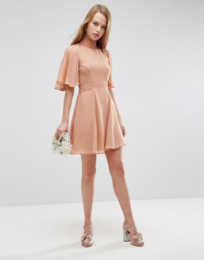 photo High Neck Flutter Sleeve Open Back Mini Dress by ASOS, color Nude - Image 1