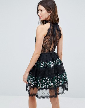 photo Embellished Mix Lace Panelled Tulle Mini Dress by ASOS, color Multi - Image 2