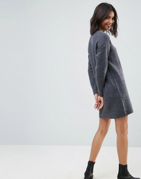 photo Knitted Dress with Cut Out Neck Detail by ASOS, color Grey - Image 2