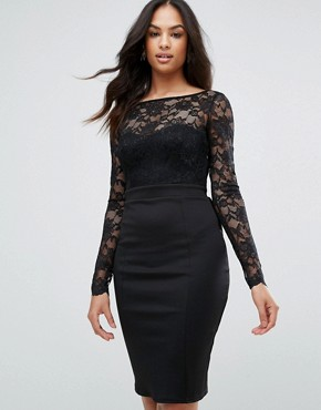 photo Long Sleeve Lace Mini Dress with Bow Back by City Goddess, color Black - Image 2