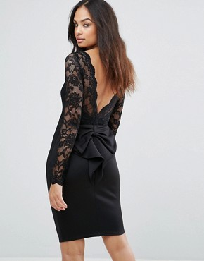 photo Long Sleeve Lace Mini Dress with Bow Back by City Goddess, color Black - Image 1