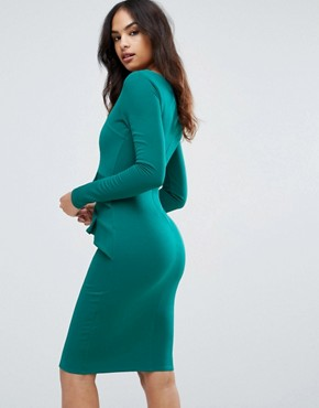 photo Long Sleeve Pencil Dress with Ruched Detail by City Goddess, color Emerald Green - Image 2