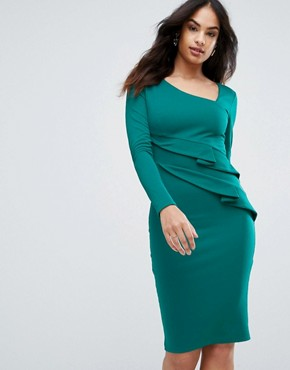 photo Long Sleeve Pencil Dress with Ruched Detail by City Goddess, color Emerald Green - Image 1