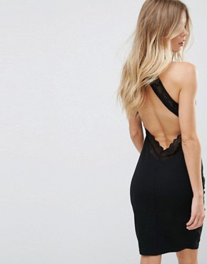 photo Backless Mini Dress with Lace Detail by City Goddess, color Black - Image 2
