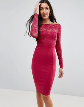photo Long Sleeve Lace Mini Dress with Bow Back by City Goddess Tall, color Raspberry - Image 2