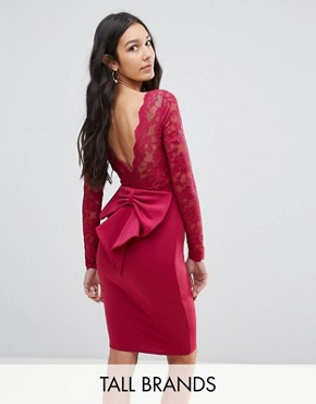 photo Long Sleeve Lace Mini Dress with Bow Back by City Goddess Tall, color Raspberry - Image 1