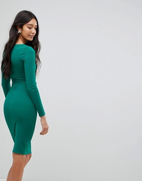 photo Long Sleeve Pencil Dress with Ruched Detail by City Goddess Tall, color Emerald Green - Image 2