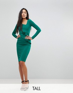 photo Long Sleeve Pencil Dress with Ruched Detail by City Goddess Tall, color Emerald Green - Image 1