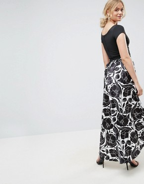 photo Hi Lo Midi Prom Dress with Floral Print Skirt by City Goddess Tall, color Black/White - Image 2